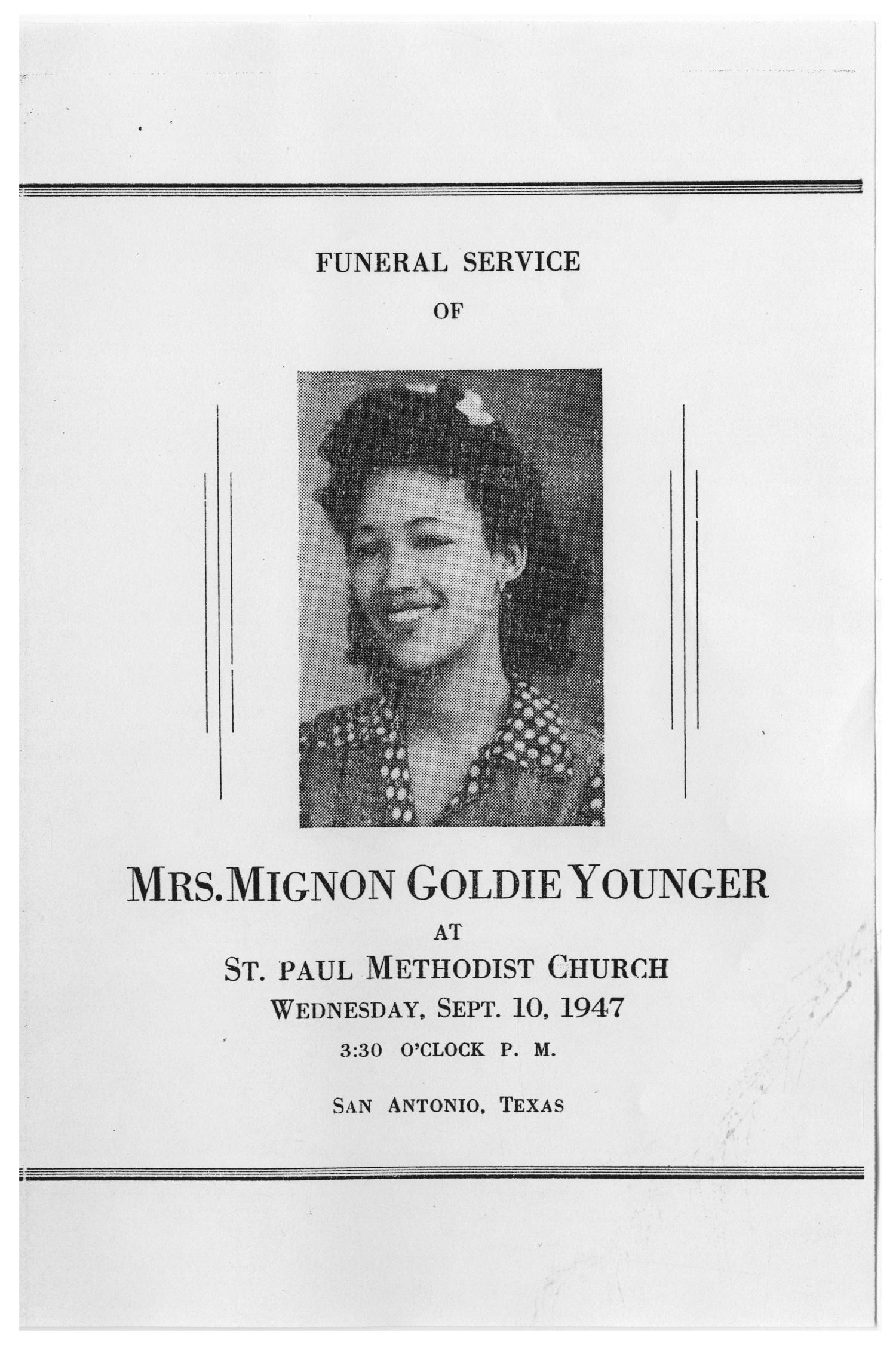 [Funeral Program for Mignon Goldie Younger, September 10, 1947]                                                                                                      [Sequence #]: 1 of 3