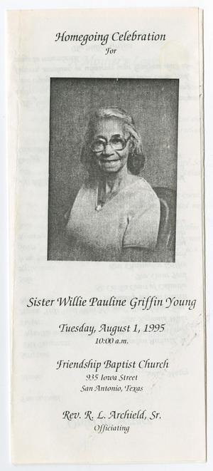 Primary view of object titled '[Funeral Program for Willie Pauline Griffin Young, August 1, 1995]'.