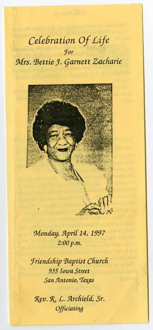Primary view of object titled '[Funeral Program for Bettie J. Garnett Zacharie, April 14, 1997]'.