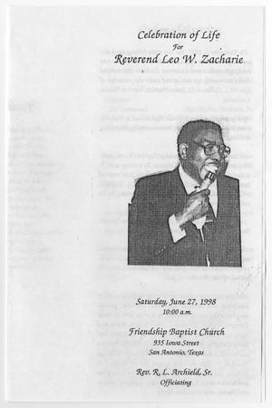 Primary view of object titled '[Funeral Program for Leo W. Zacharie, June 27, 1998]'.
