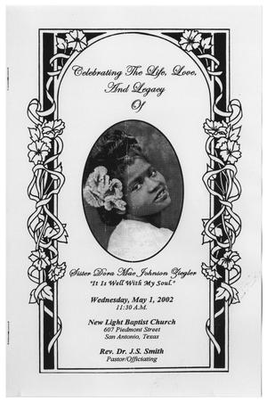 Primary view of object titled '[Funeral Program for Dora Mae Johnson Ziegler, May 1, 2002]'.