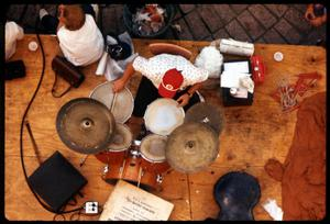 Primary view of object titled '[Bird's Eye View of Drummer]'.