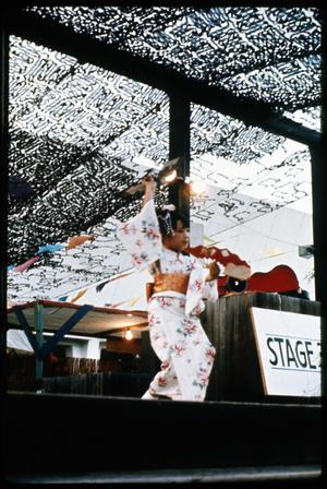Primary view of object titled '[Irene Stephan Performing Japanese Classical Dance with Fans]'.