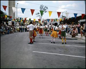 Primary view of object titled '[German Folk Dancers Performing]'.
