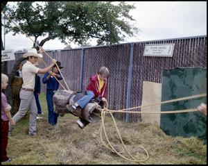 Primary view of object titled '[Buckin' Barrel Ride at the Texas Folklife Festival]'.