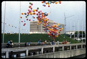Primary view of object titled '[Balloon Release at the Opening Ceremony of the Texas Folklife Festival]'.