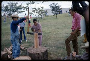 Primary view of object titled '[Demonstration of Log Splitting]'.
