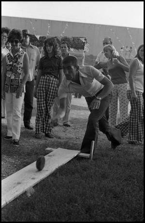 Primary view of object titled '[Belgian Bowling at the Texas Folklife Festival]'.