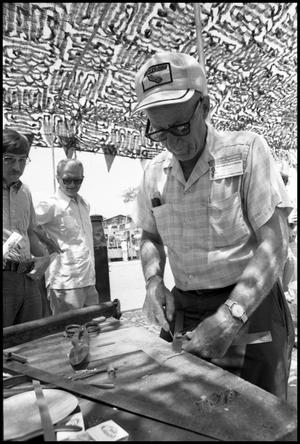 Primary view of object titled '[Emil P. Schandua at the 4th Texas Folklife Festival]'.