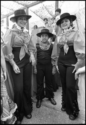 Primary view of object titled '[Ballet Folklorico de San Antonio Flamenco dancers at the Texas Folklife Festival]'.