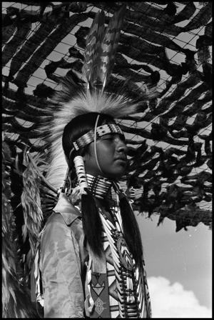 Primary view of object titled '[Dallas Inter-Tribal Dancer at the Texas Folklife Festival]'.