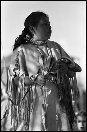 Primary view of object titled '[Inter-Tribal Dancer at the Texas Folklife Festival]'.