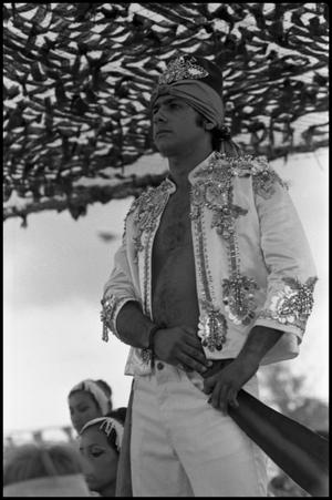 Primary view of object titled '[Bayanihan Dancer Performing at the Texas Folklife Festival]'.