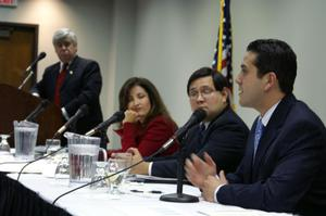Primary view of object titled '[North Texas Latino Council meeting panelists]'.