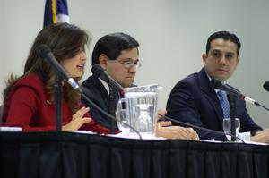 Primary view of object titled '[Panelists at the North Texas Latino Council meeting]'.