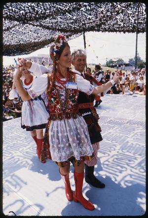 Primary view of object titled '[Austin Polish Folk Dance Performance at the Texas Folklife Festival  - August 1975]'.