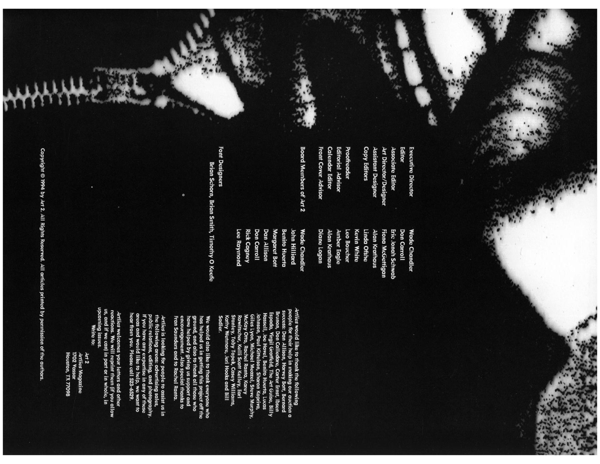 Art Lies, Volume 1, March 1994                                                                                                      Front Inside