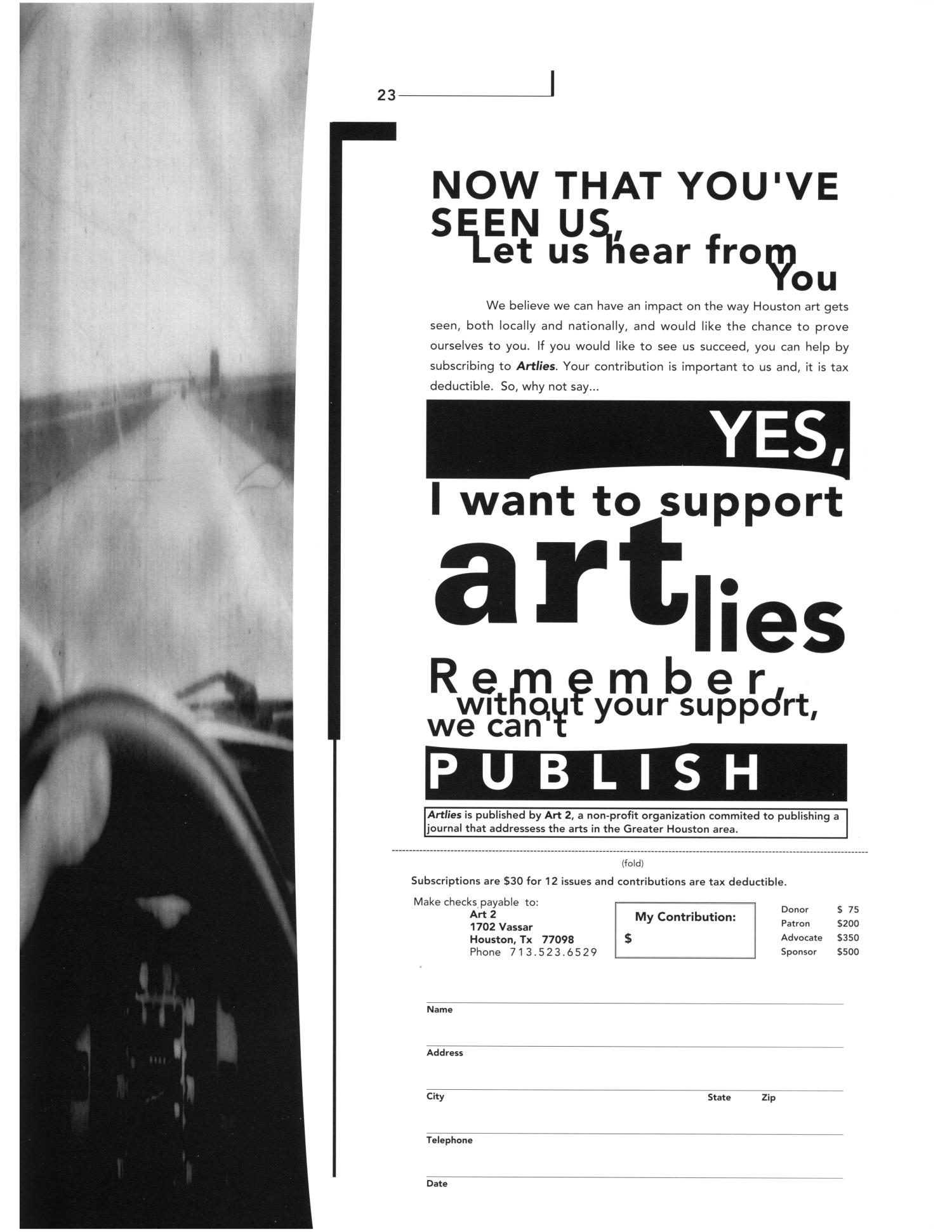 Art Lies, Volume 1, March 1994                                                                                                      Back Inside