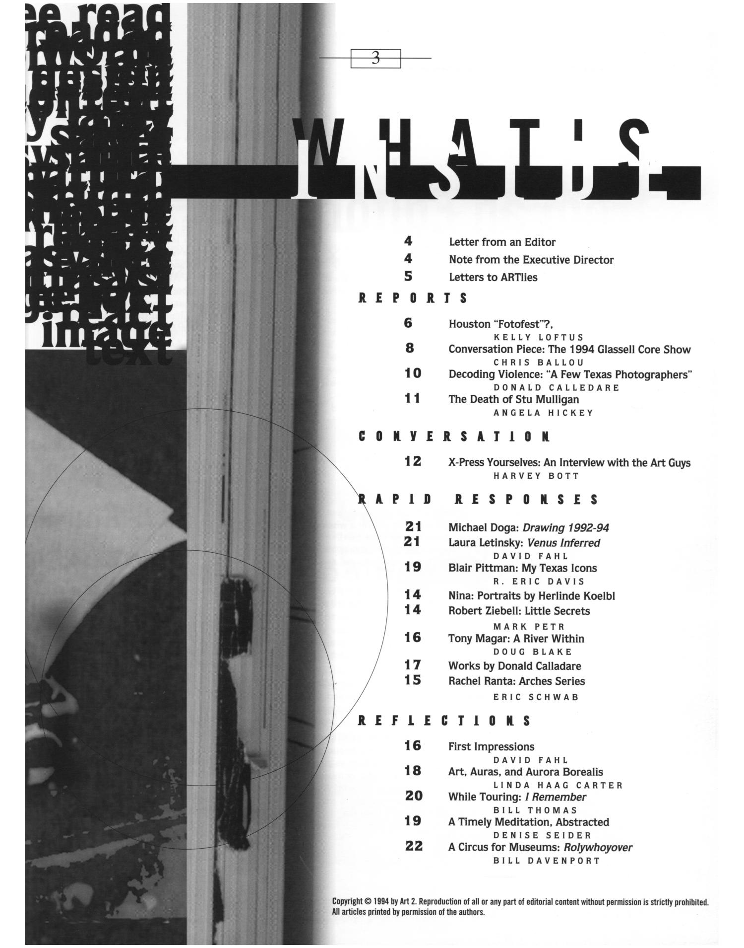 Art Lies, Volume 2, May-June 1994                                                                                                      3