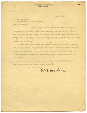 Primary view of object titled '[Letter from William M. Hoskins to Meyer Bodansky - November 1926]'.