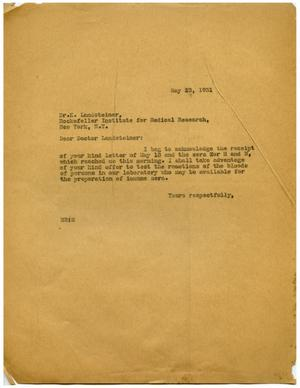 Primary view of object titled '[Letter from Dr. Meyer Bodansky to K. Landsteiner - May 1931]'.