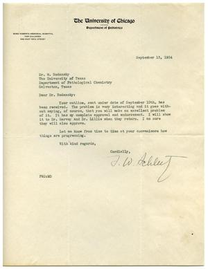 Primary view of object titled '[Letter from F. W. Schlutz to Meyer Bodansky - September 1934]'.