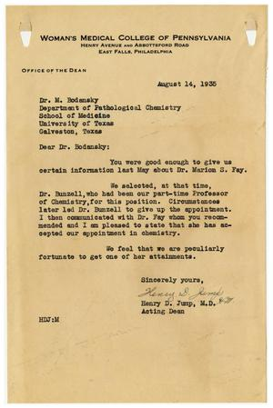 Primary view of object titled '[Letter from Henry D. Jump to Meyer Bodansky - August 1935]'.