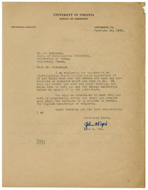 Primary view of object titled '[Letter from John H. Yoe to Meyer Bodansky - February 1936]'.