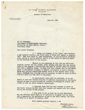 Primary view of object titled '[Letter from Alton Ochsner to Meyer Bodansky - June 1936]'.