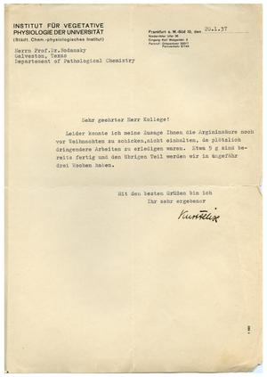 Primary view of object titled '[Letter from the University Institute of Vegetative Physiology to Meyer Bodansky - January 1937]'.