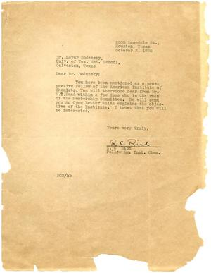 Primary view of object titled '[Letter from R. C. Rich to Meyer Bodansky - October 1938]'.