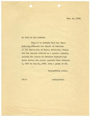 [Attendance Verification Letter from the Acting Dean of the University of Texas School of Medicine - October 1938]