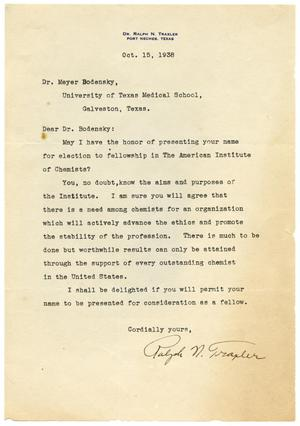Primary view of object titled '[Letter from Ralph N. Traxler to Meyer Bodansky - October 1938]'.