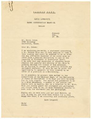 Primary view of object titled '[Correspondence between David Lefkowitz, Henry Cohen, Meyer Bodansky, and Bela Halpret - January 1939]'.