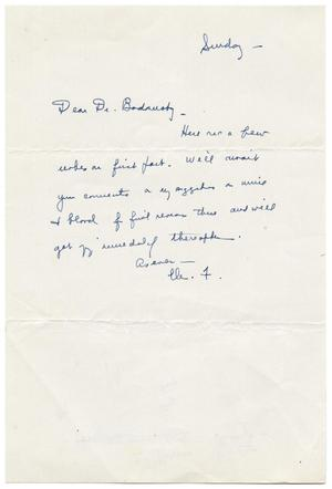 Primary view of object titled '[Handwritten Note to Meyer Bodansky]'.