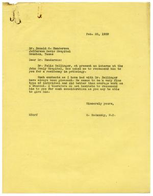 Primary view of object titled '[Letter from Meyer Bodansky to Donald G. Henderson - February 1939]'.