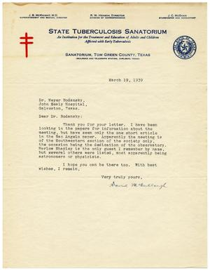Primary view of object titled '[Letter from David McCullough to Meyer Bodansky - March 1939]'.