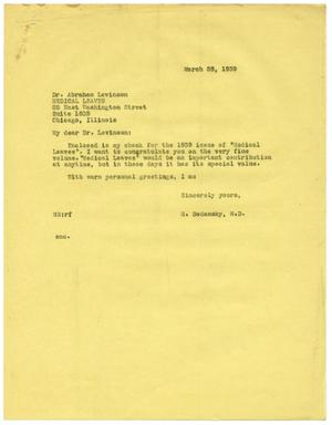 Primary view of object titled '[Letter from Meyer Bodansky to Abraham Levinson - March 1939]'.