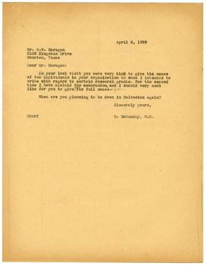 Primary view of object titled '[Letter from Meyer Bodansky to D. W. Haragan - April 1939]'.