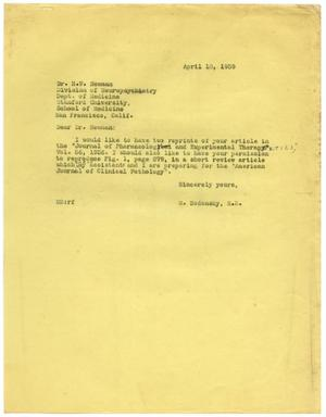 Primary view of object titled '[Letter from Meyer Bodansky to H. W. Newman - April 1939]'.