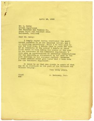 Primary view of object titled '[Letter from Meyer Bodansky to L. Kelly - April 1939]'.