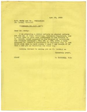 Primary view of object titled '[Letter from Meyer Bodansky to C. V. Mosby - April 1939]'.