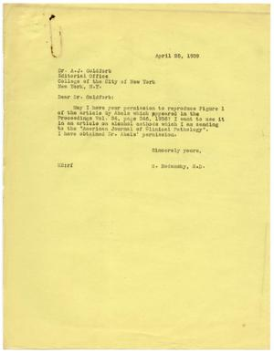 Primary view of object titled '[Letter from Meyer Bodansky to A. J. Goldforb - April 1939]'.