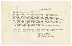 Primary view of object titled '[Note from John G. Sinclair, Edward H. Schwab, and Jarrett E. Williams to All Supervisors of NYA Workers - April 1939]'.