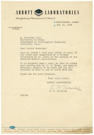 Primary view of object titled '[Letter from E. H. Volwiler to Meyer Bodansky - May 1939]'.