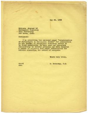 Primary view of object titled '[Letter from Meyer Bodansky to the Editors of the Journal of Biological Chemistry - May 1939]'.