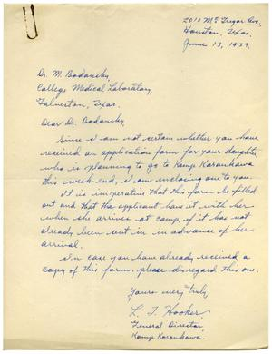 Primary view of object titled '[Letter from L. J. Hooker to Meyer Bodansky - June 1939]'.