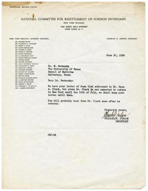 Primary view of object titled '[Letter from Charles H. Jordan to Meyer Bodansky - June 1939]'.