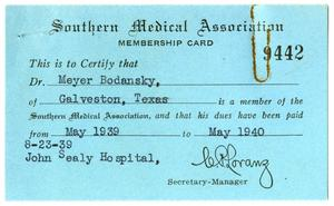 Primary view of object titled '[Letter and Membership Card to Meyer Bodansky from C. P. Lorans - May 1939]'.