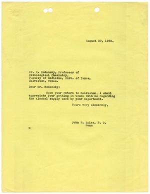 Primary view of object titled '[Letter from John W. Spies to Meyer Bodansky - August 29, 1939]'.